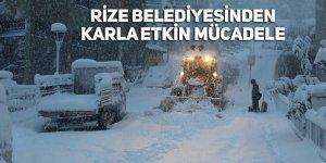 Rize Belediyesinden karla etkin mücadele