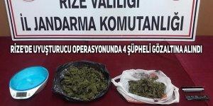 Rize'de uyuşturucu operasyonunda 4 şüpheli gözaltına alındı