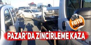 Pazar'da zincirleme trafik kazası