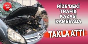 Rize'de meydana gelen trafik kazası kamerada