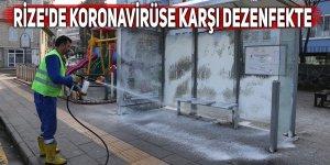 Rize'de koronavirüse karşı dezenfekte