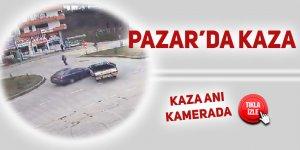 Pazar'da trafik kazası kameraya takıldı: 1 yaralı