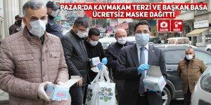 Pazar'da Kaymakam Terzi ve Başkan Basa ücretsiz maske dağıttı