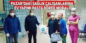 Pazar'daki sağlık çalışanlarına ev yapımı pasta börek desteği