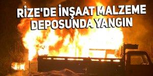 Rize'de inşaat malzeme deposunda yangın