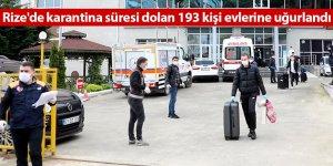 Rize'de karantina süresi dolan 193 kişi evlerine uğurlandı