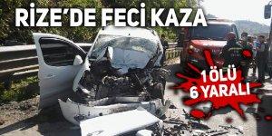 Rize'de trafik kazası: 1 ölü 6 yaralı