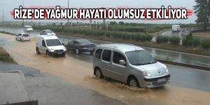 Rize'de sağanak yağışlar hayatı olumsuz etkiliyor