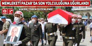 Emekli Albay, memleketi Pazar'da askeri törenle son yolculuğuna uğurlandı