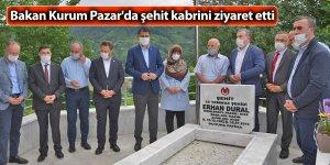 Bakan Kurum Pazar'da şehit kabrini ziyaret etti