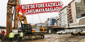Rize'de fore kazıklar çakılmaya başladı