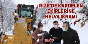 Rize'de KARDELEN ekiplerine helva ikramı