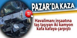 Pazar'da havalimanı inşaatında kaza: 2 yaralı