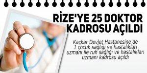 Rize'ye 25 doktor kadrosu açıldı