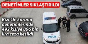 Rize'de korona denetimlerinde 492 kişiye 896 bin lira ceza