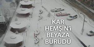 Kar, Hemşin'i beyaza bürüdü