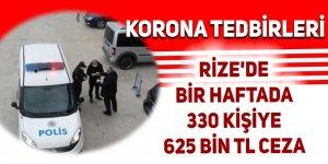 Rize'de bir haftada 330 kişiye ceza