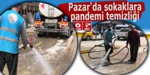 Pazar'da sokaklara pandemi temizliği