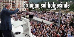 Erdoğan sel bölgesinde