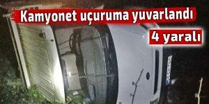 Kamyonet uçuruma yuvarlandı: 4 yaralı