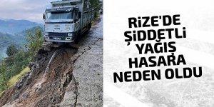 Rize'de şiddetli yağış hasara neden oldu